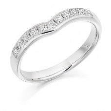 Platinum 11-stone Diamond WishBone Wedding Ring