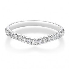 Platinium Wishbone .33ct Diamond Castle set Wedding Ring
