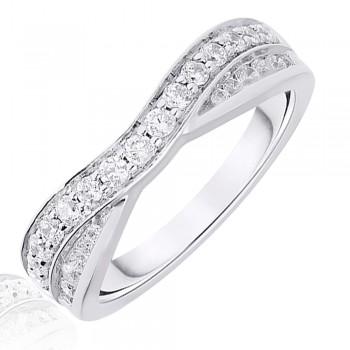Platinum .50ct Brilliant & Baguette Diamond Overlap Ring