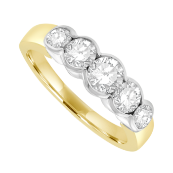 18ct Gold 5-stone Diamond Rub-over Eternity Ring