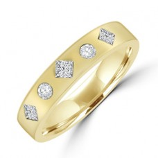 18ct Gold Princess & Brilliant Diamond Wedding ring