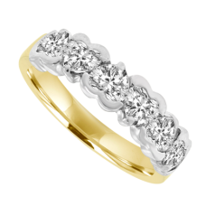 18ct Gold 6-stone Heart Cut Diamond Eternity Ring