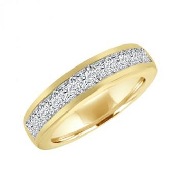 18ct Gold 9-stone Princess cut Diamond Eternity Ring