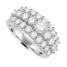 18ct White Gold 27-stone Diamond Three-row Eternity Ring
