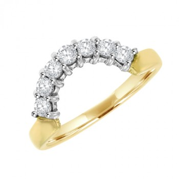 18ct Gold 7-Stone Diamond Bow Shaped Eternity Ring
