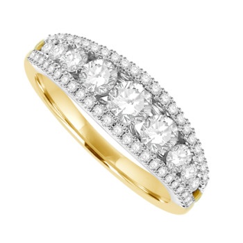 18ct Gold 3-Row Diamond Graduated Eternity Ring
