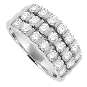 18ct White Gold Diamond 3-row Eternity Ring