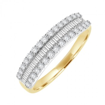 18ct Gold 3-Row Baguette & Brilliant cut Diamond Eternity Ring