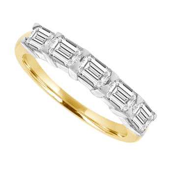 18ct Gold 5-stone Emerald cut Diamond Eternity Ring