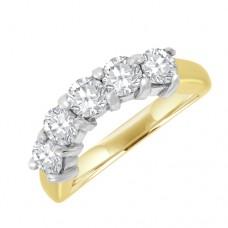 18ct Five-stone Diamond Bow shaped Eternity Ring