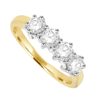 18ct Gold 4-stone Diamond Eternity Ring