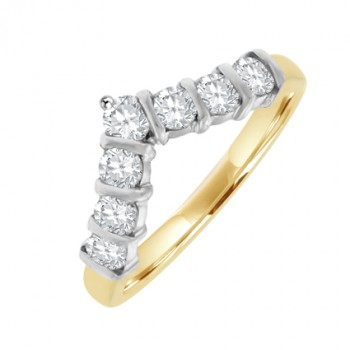 18ct Gold 7-Stone Diamond Wishbone Eternity Ring
