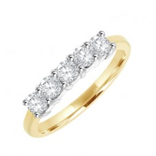18ct Gold 5-stone Diamond Claw set Eternity Ring