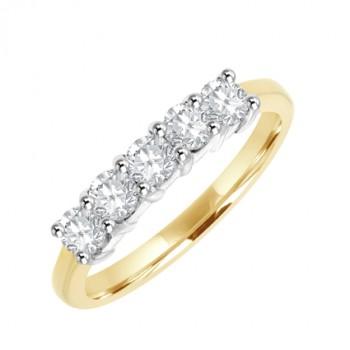 18ct Gold 5-stone Diamond Claw set Eternity Ring