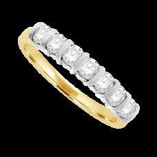 18ct Gold 7-Stone Diamond Bar Set Eternity Ring .56ct