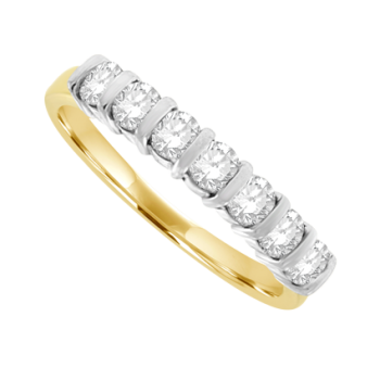 18ct Gold 7-Stone Diamond Bar Set Eternity Ring .56ct