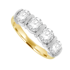 18ct Gold 4-Stone Diamond Bar Set Eternity Ring