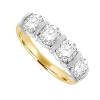 18ct Gold 4-Stone Diamond Bar Set Eternity Ring