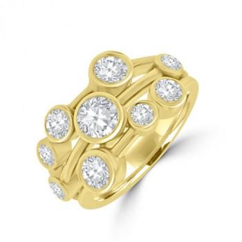 18ct Gold 9-stone Diamond Bubble Eternity Ring