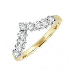 18ct 9st Diamond Eternity Ring - Wishbone Shaped
