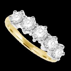 18ct Gold 5-stone Diamond Eternity Ring