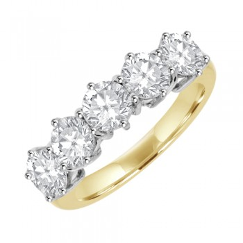 18ct Yellow Gold 5Stone Diamond Eternity Ring