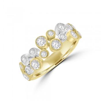 18ct Three-tone Gold Diamond Two-row Bubble Ring