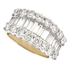 18ct Gold 3-Row Baguette Diamond Graduated Eternity Ring