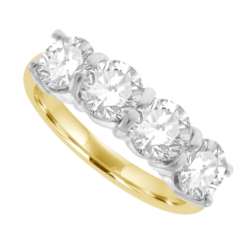 18ct Gold 4-Stone Diamond Curved claw Eternity Ring