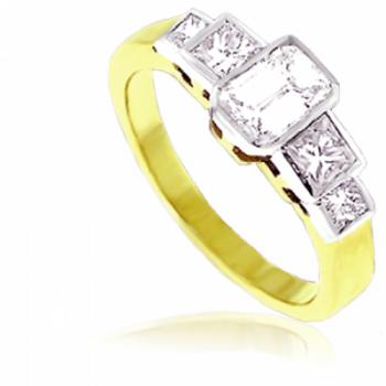 18ct Gold 5-Stone Emerald & Princess cut Eternity Ring