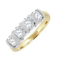 18ct Gold 4 Stone Diamond Eternity Style Ring
