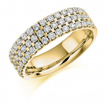 18ct Gold Three-row Diamond Eternity Ring