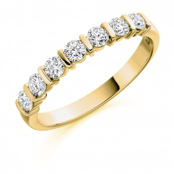 18ct Gold 7-stone Diamond Bar set Eternity Ring