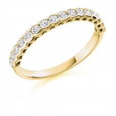 18ct Gold 16-stone Rubover Diamond Eternity Ring