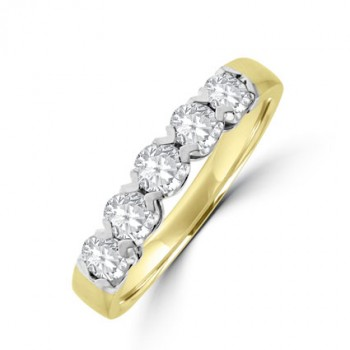18ct Gold 5-stone Diamond V-Claw Eternity Ring