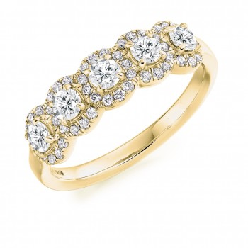 18ct Gold 5-stone Diamond Halo Eternity Ring