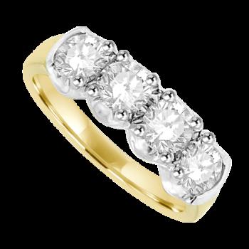 18ct Gold 4-stone Diamond Loopy Eternity Ring