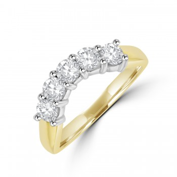 18ct Gold 5-stone Diamond Bow-Shaped Eternity Ring