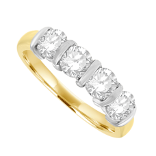 18ct Gold 4-stone Bar set Diamond Eternity Ring