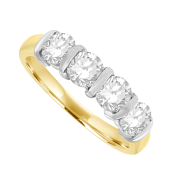 18ct Gold 4-stone Bar set Diamond Eternity Ring