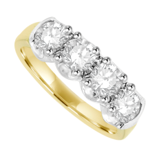 18ct Gold 4-stone Diamond Loopy Claw Ring