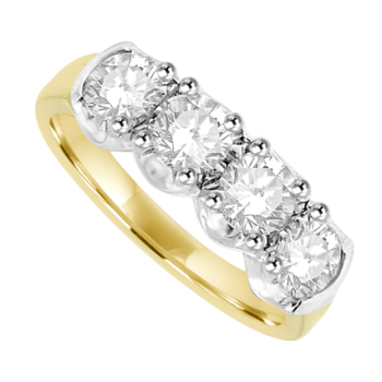18ct Gold 4-stone 1.23ct Diamond Loopy Claw Set Eternity Ring