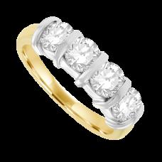 18ct Gold 4-stone Bar set 1.46ct Diamond Eternity Ring
