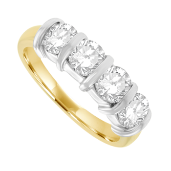 18ct Gold 4-stone Bar set 1.46ct Diamond Eternity Ring