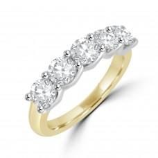 18ct Gold & Platinum 5st 1.00ct Diamond V-Claw Eternity Ring