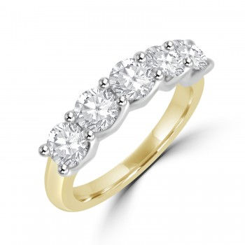 18ct Gold & Platinum 5st 1.00ct Diamond V-Claw Eternity Ring