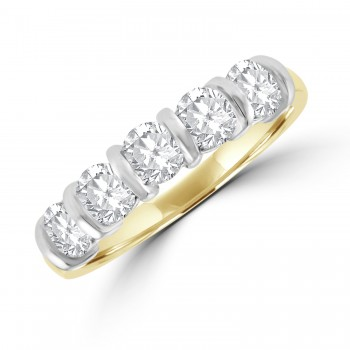 18ct Gold 5-stone 1.00ct Diamond Bar Set Eternity Ring