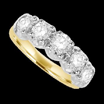 18ct Gold 5-stone 1.50ct Diamond Loopy Eternity Ring