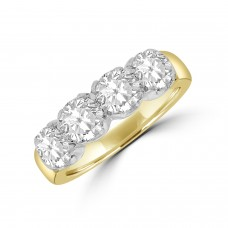 18ct Gold 4-stone 2.02ct Diamond Loopy Claw Eternity Ring