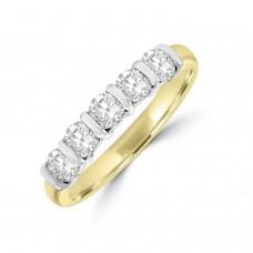 18ct Gold 5-stone .74ct Diamond Bar set Eternity Ring